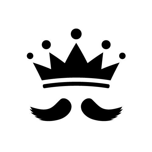 王様のような立派な髭と王冠のシルエットイラスト素材 無料商用