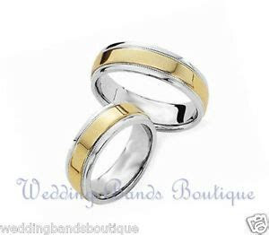 14k Two Tone Gold His Hers Matching Wedding Bands Men's