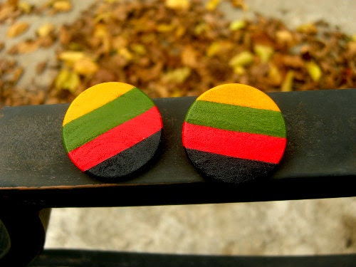 Round Handpainted Wooden Caribbean African American Colored Post Earrings