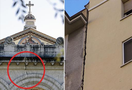 San Paolo, a sinistra il colonnato  danneggiato. A destra la lesione tra due palazzi nella Capitale