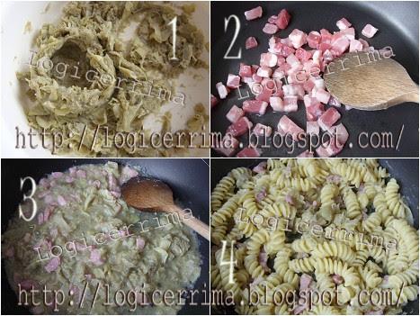 [ Pasta con Salsa ai Carciofi e Pancetta ]
