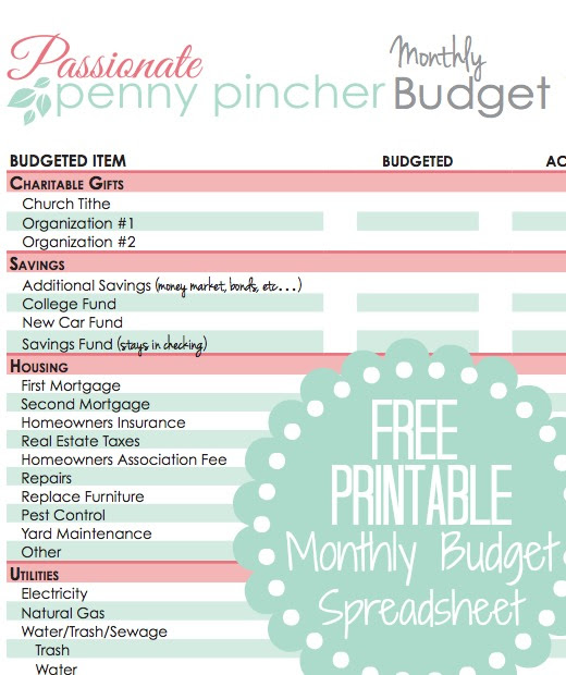 free printable monthly budget spreadsheet