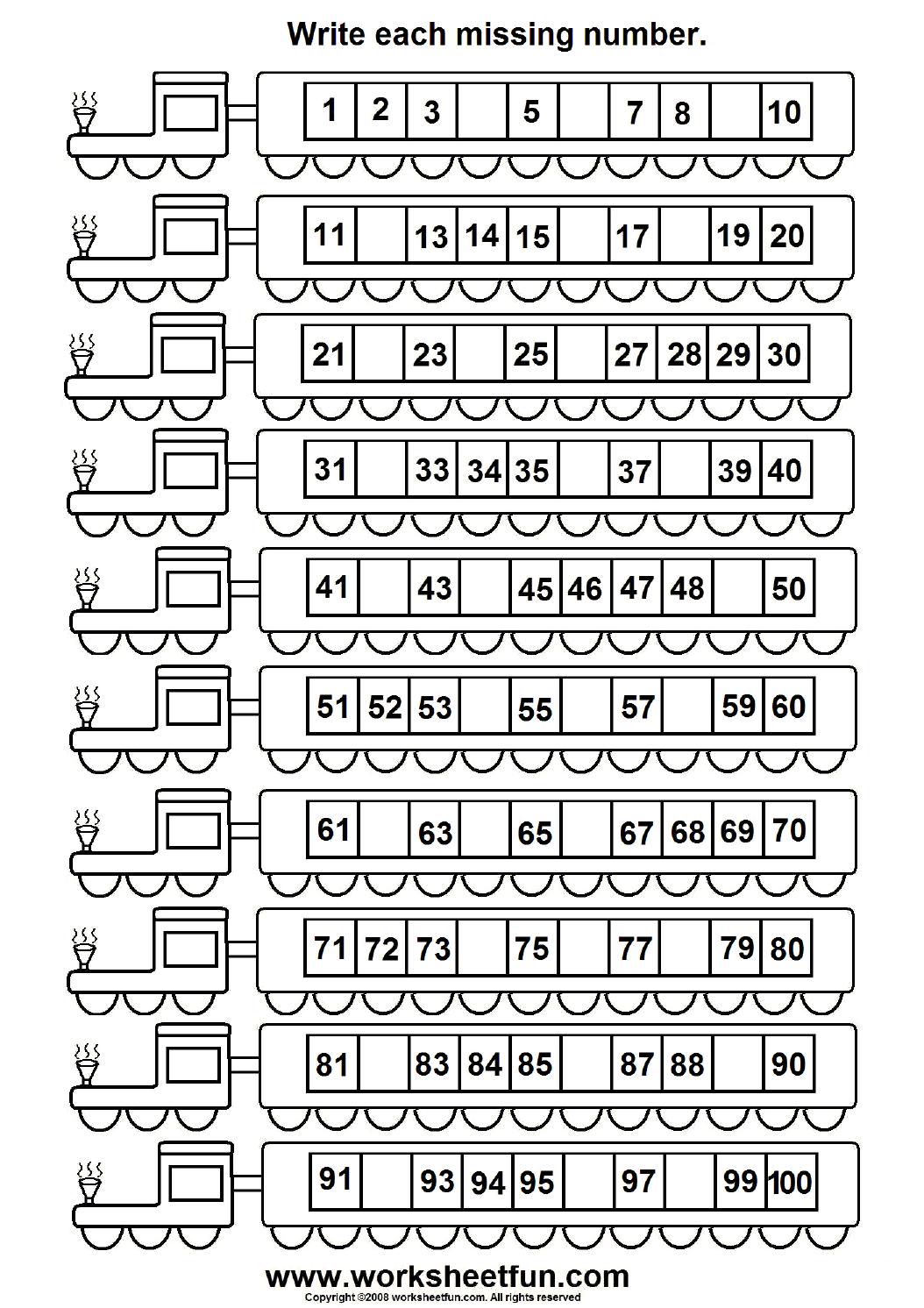 Free Missing Number Worksheets For Kindergarten