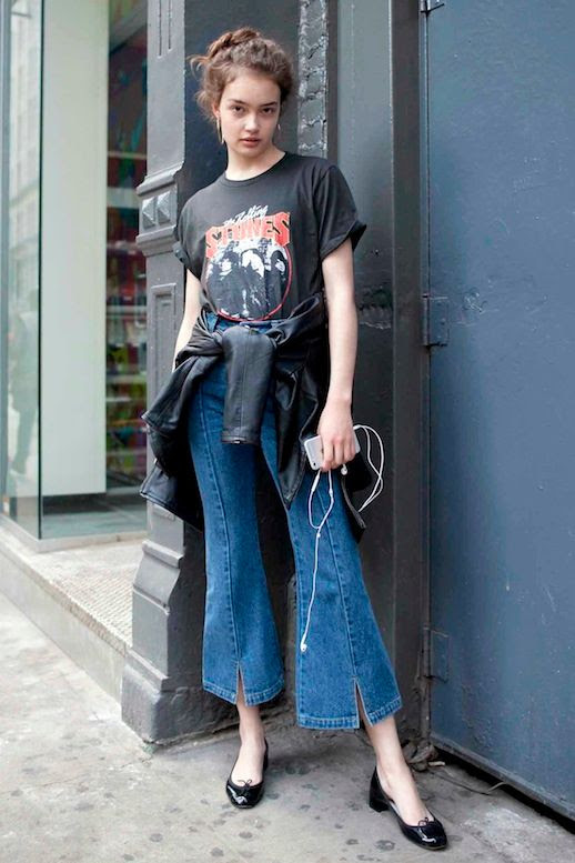 Le Fashion Blog Weekend Style Messy Top Knot Vintage Band Tee Cropped Flare Jeans Ballet Kitten Heels Via Elle Girl Japan