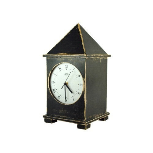 wooden clock black big one 15,5 inch - ArtmaStudio