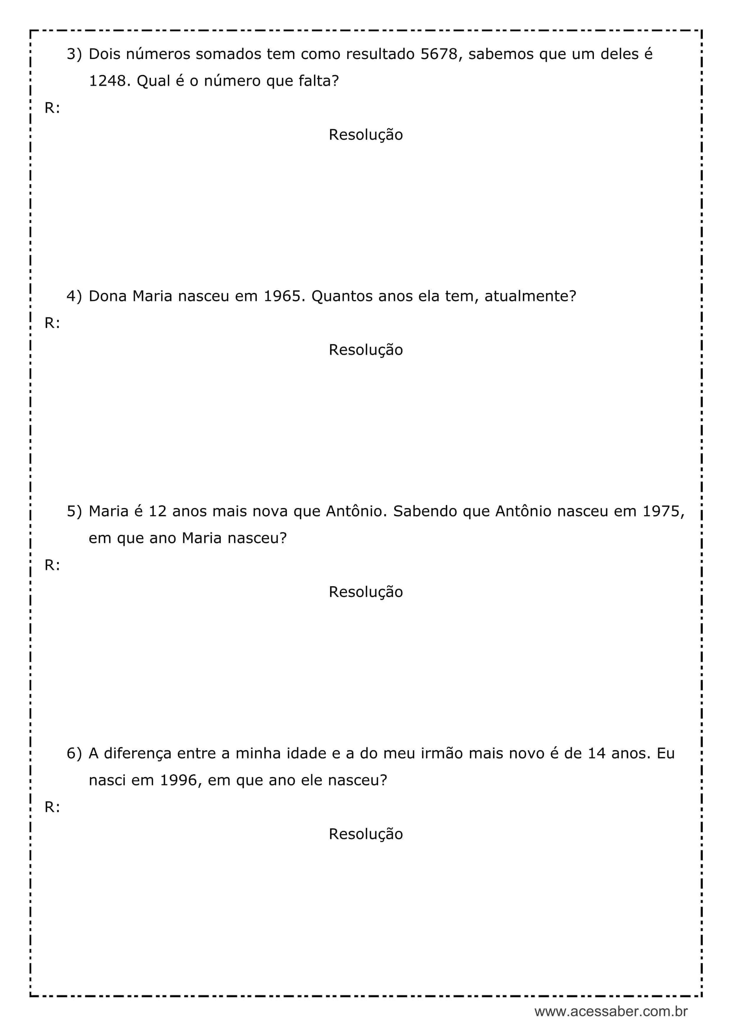 Atividade De Matematica Problemas 4º Ou 5º Ano Acessaber