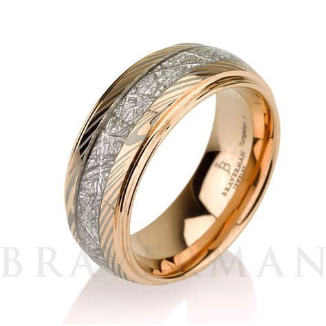 Mokume Meteorite Wedding Band, Meteorite Ring,14k Rose