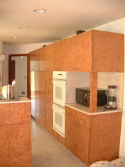 Wall of cabinets side view