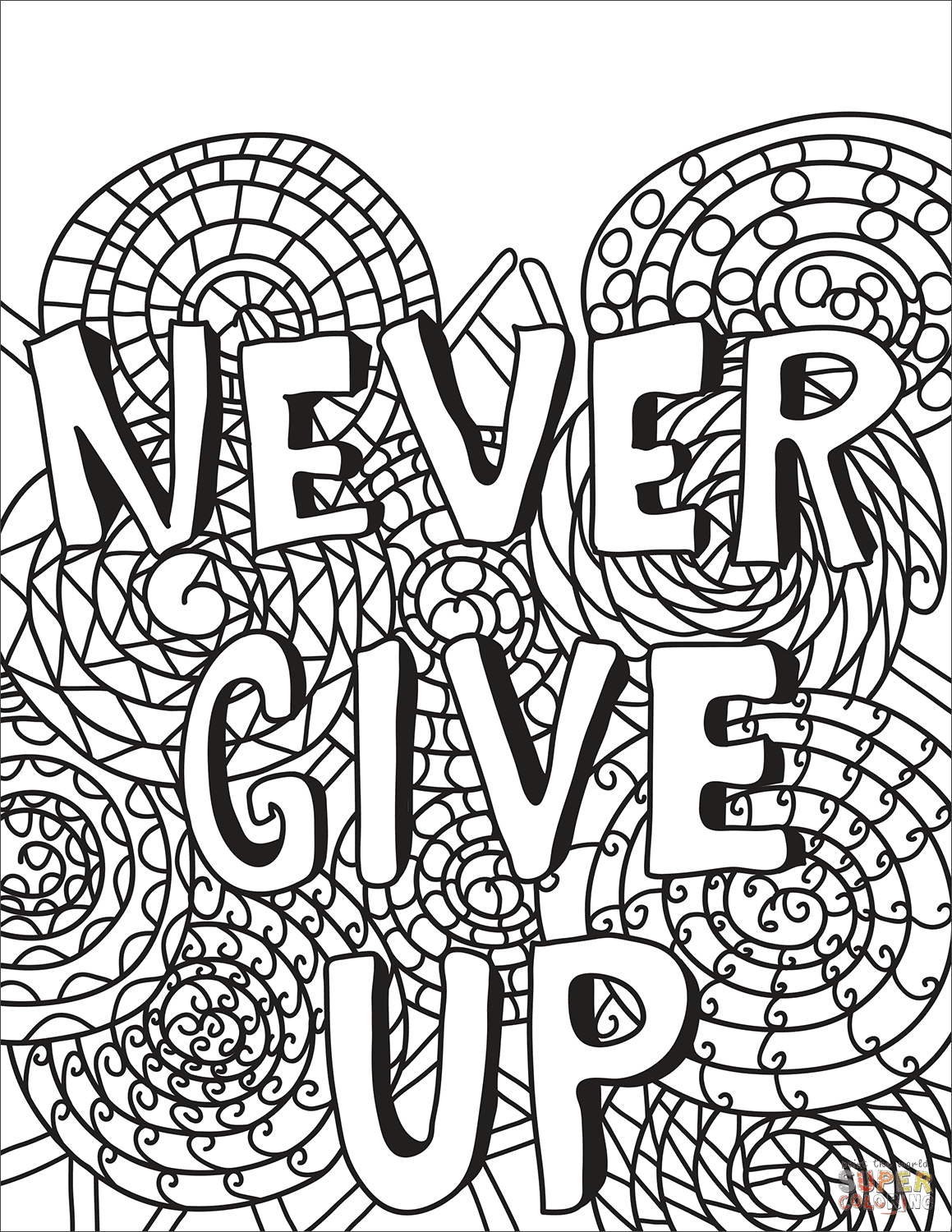 Never Give Up coloring page | Free Printable Coloring Pages