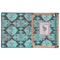 Vintage Blue Damask Distressed
