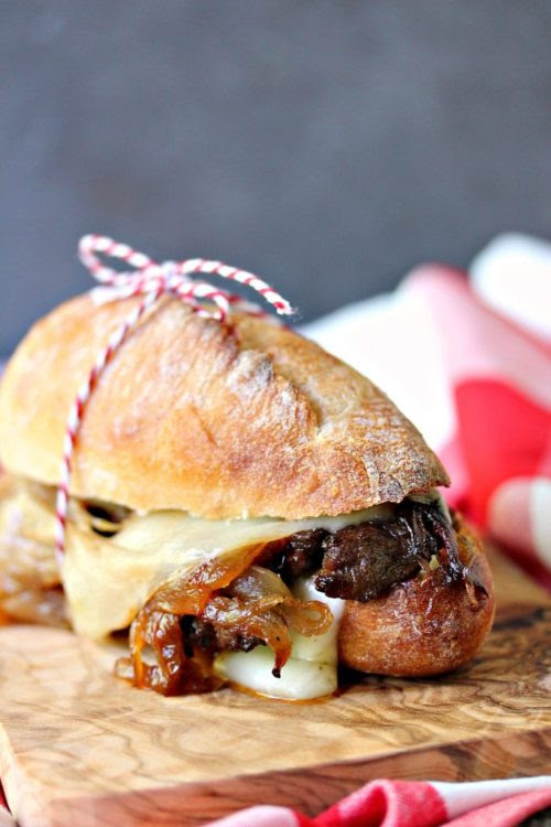 Steak Sandwiches with Caramelized Onions & Provolone Cheese - Cravings Of A Lunatic - HMLP 99 - Feature