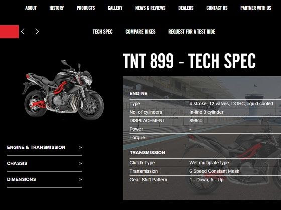 DSK-Benelli official webpage of TNT 899 has no power or torque rating