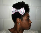Large Pink & Gray Plaid Hair Bow