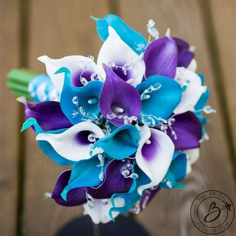 Purple and turquoise calla lily wedding bouquet with