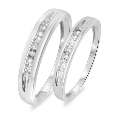 1/10 Carat T.W. Diamond His And Hers Wedding Rings 10K