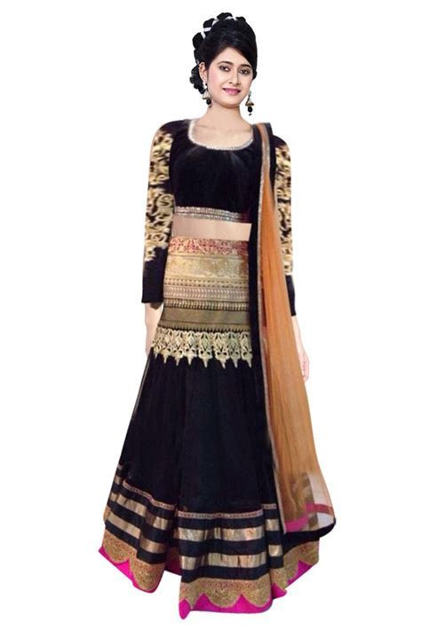 Georgette Party Wear Lehenga Choli in Black Colour