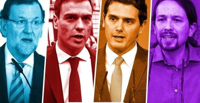 Los cuatro principales candidatos en las elecciones del 20-D