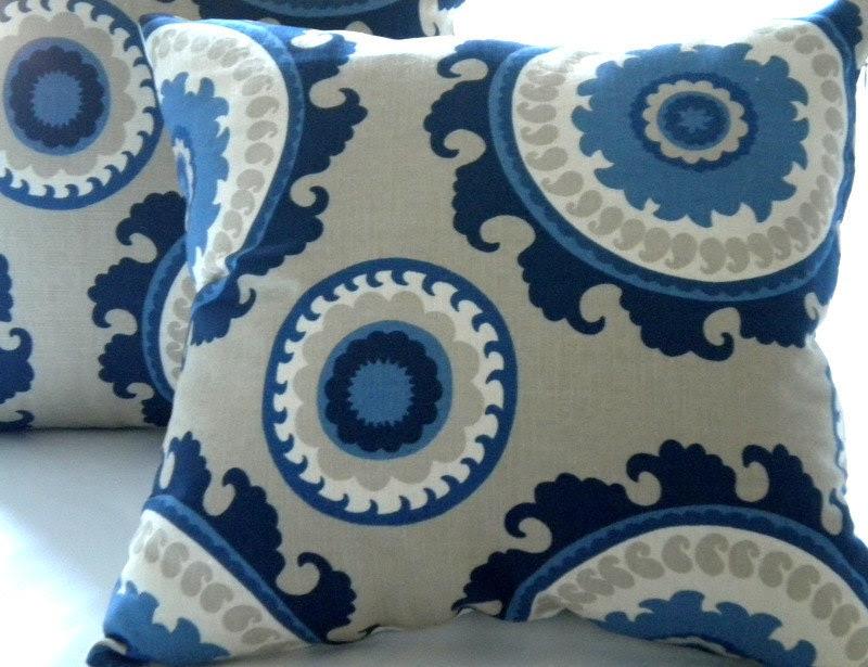 Pillow cover Navy Suzani Indigo Blue Cream Taupe 16 x 16 - MicaBlue