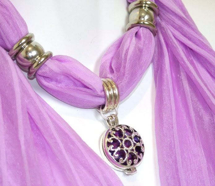 Scarf with Jewelry. Purple. Pastel. Mauve. Filigree. Silver. Pendant. Elegant. Accessories. Gift