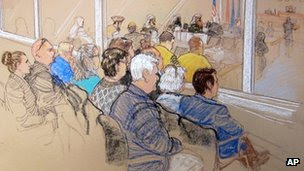 Courtroom sketch of spectators' gallery at Guantanamo Bay 28 January 2013