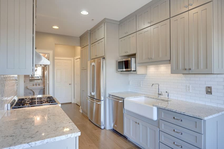 galley kitchen with bathroom