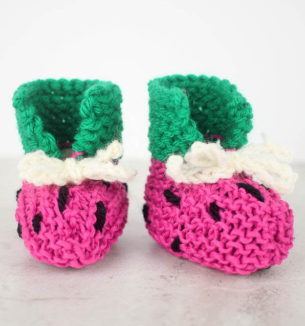 Free Knitting Pattern for Easy Watermelon Baby Booties