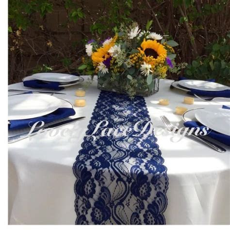 "NAVY Lace Table Runner, 21ft To 28ft Long X 7"" Wide"