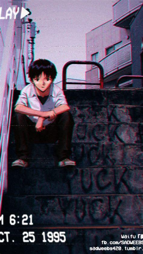 anime vhs stpes grunge aesthetic neon genesis