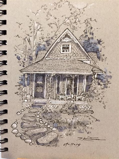love  drawing  toned paper simple house shapes