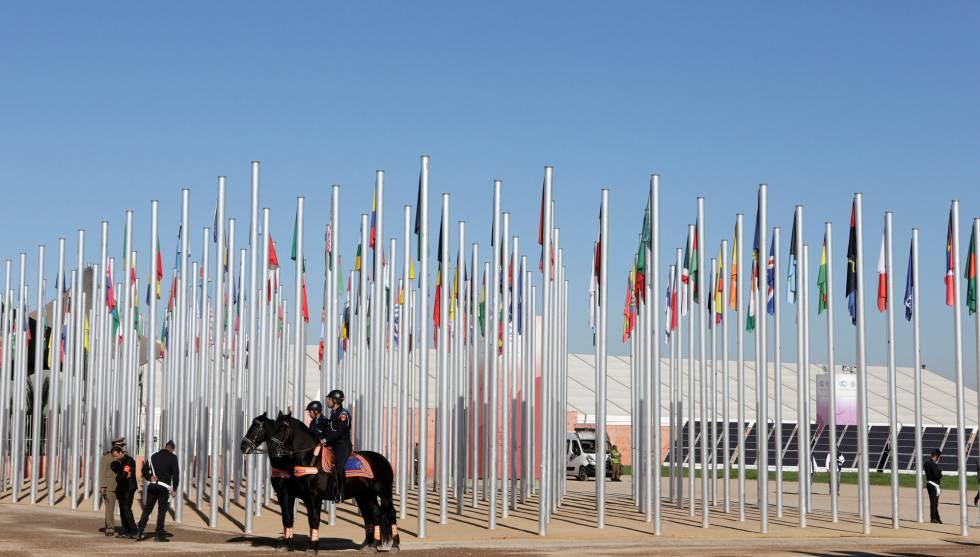 Seguridad a la entrada de la sede de la COP 22 en Marrakech.