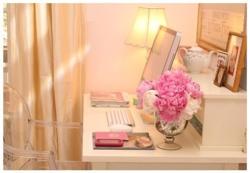 bedroom, computer, cute, flowers, girly