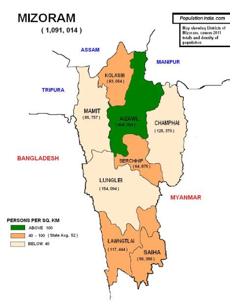 mizoram, population of mizoram, districts of mizoram, population of mizoram 2011, mizoram map, mizoram district map, mizoram census
