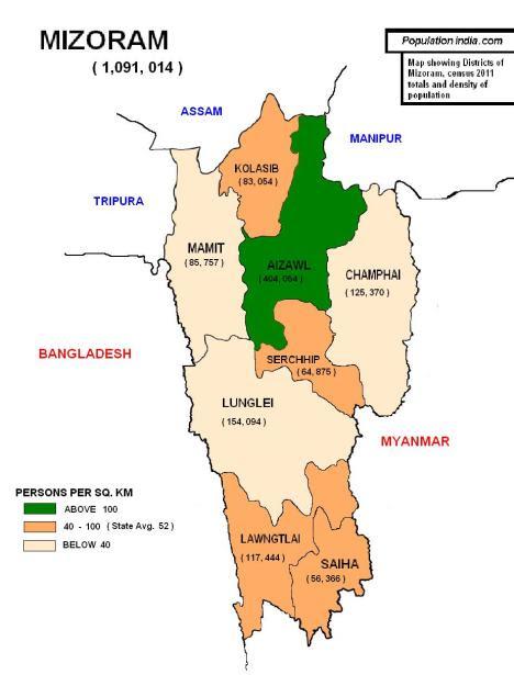 mizoram, population of mizoram, districts of mizoram, population of mizoram 2011, mizoram map, mizoram district map, mizoram census