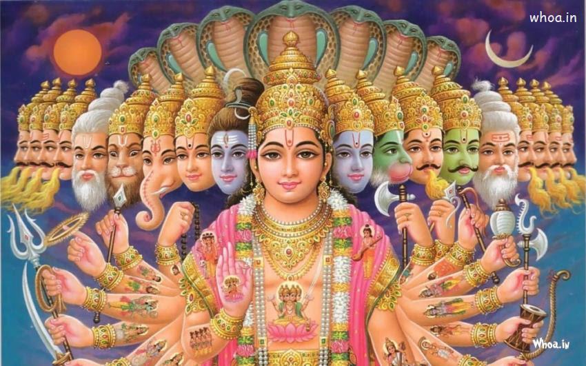 Lord Vishnu And With His 10 Avatars Hd Wallpaper