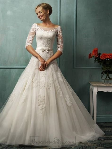 Half Sleeves Illusion Bateau Neckline A line Lace Wedding