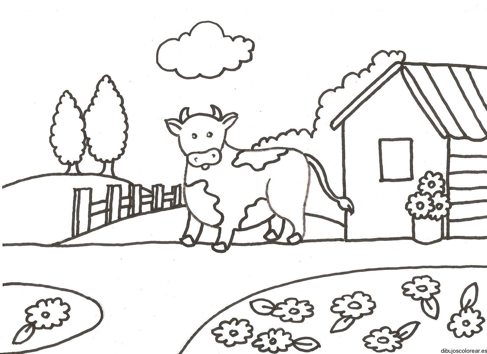 Dibujo De Una Vaca En Su Corral