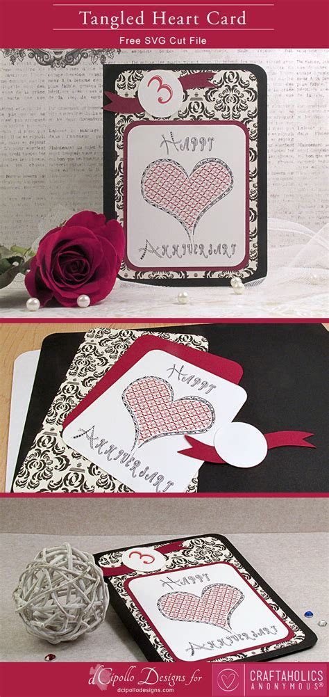 Craftaholics Anonymous®   Tangled Heart Card: Free SVG Cut