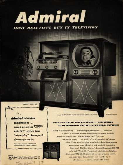 Admiral Corporation's Television Combinations – tv, radio, phonograph – Admiral, Most Beautiful Buy in Television (1950)