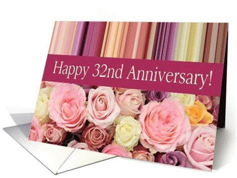 32nd Wedding Anniversary Card   Pastel roses and stripes