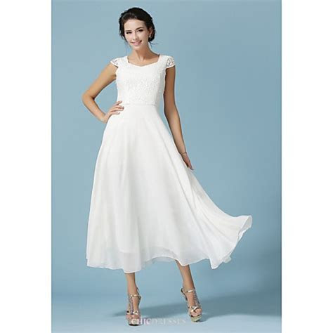 Ankle length Chiffon / Lace Bridesmaid Dress   White A