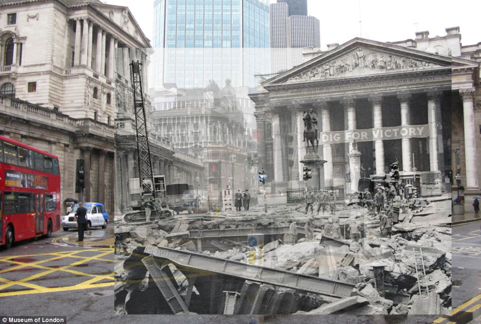The Royal Exchange in Bank as seen after a bomb was dropped 1941 and as it looks today