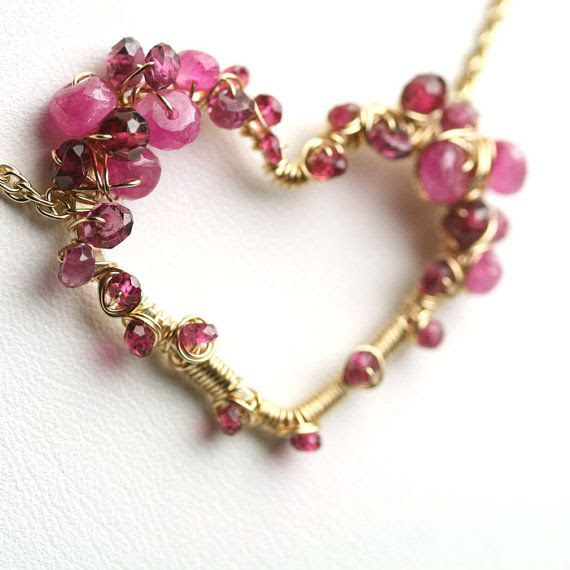 ❥ Pink Sapphire Garnet Wire Wrapped Heart