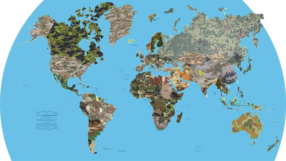 カモフラ迷彩模様で世界地図を塗りつぶしてみたよ Cocomita