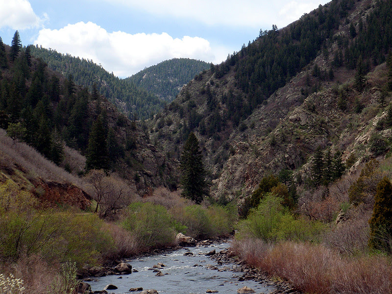 Waterton Canyon tightens up again about 0.5 mile below the Strontia Springs Reservoir dam.