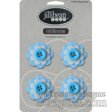 Набор цветов из фетра Jillibean Soup - Felt Blossoms - Blue - ScrapUA.com