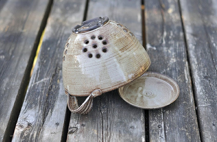 Rustic Colander or Berry Bowl in Cream and Brown - BACKORDERED