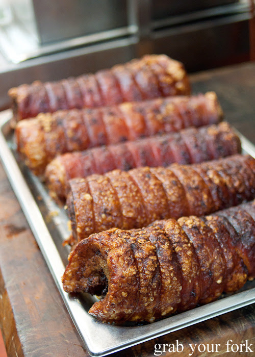 Rolled pork belly crackling at the Filipino Barbie