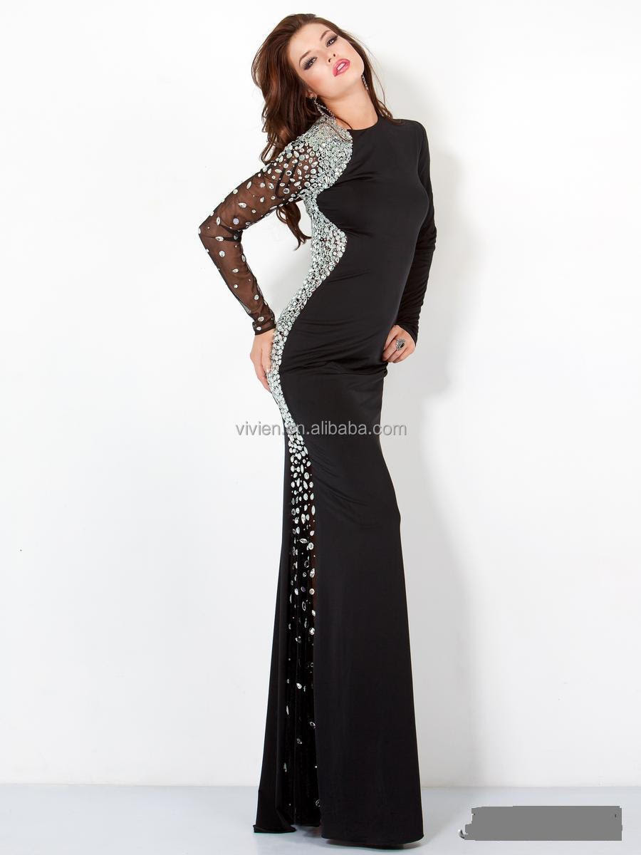 Black knit evening dress