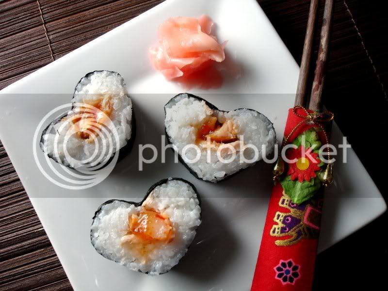Heart Shaped Sushi with Salmon & Shrimp