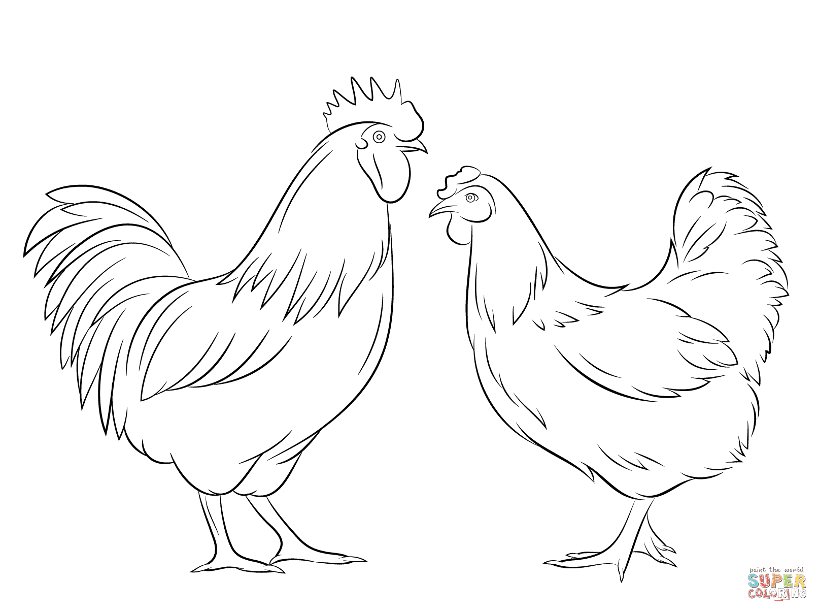Rooster and Hen coloring page  Free Printable Coloring Pages